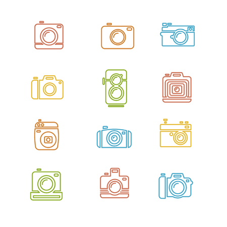 camera: Vintage Photo Camera Colorful Icon Line Art. Vector illustration