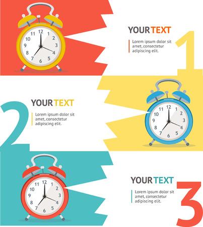 Wake Up Clock Option Banner. Flat Design. Vector illustration