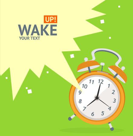 despertarse: Despertador Reloj Tarjeta Concept. Diseño plano. Ilustración vectorial Vectores