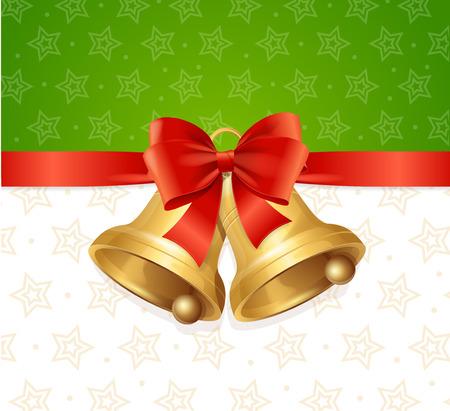 ligh: Christmas Bell With Ribbon Card Backround. Vector illustration Illustration