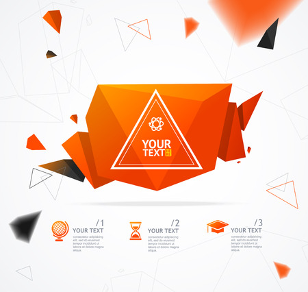 orange background abstract: Orange Geometry Abstract Background With Space For Text. Vector illustration