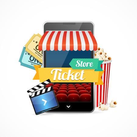 cinema strip: On-line Cinema Concept, Buy Tickets. Vector illustration Illustration