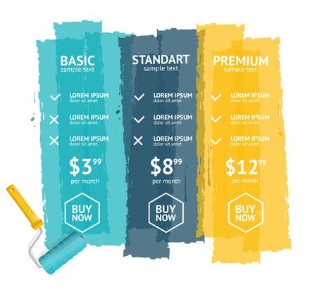 rollerbrush: Pricing List for Web App. Vector illustration