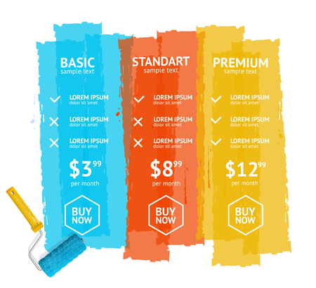 rollerbrush: Pricing List With Three Plans. Vector illustration
