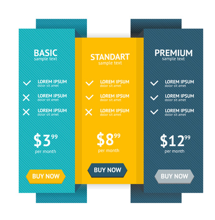 pricing: Pricing List, Perfect Web Boxes. Vector illustration Illustration