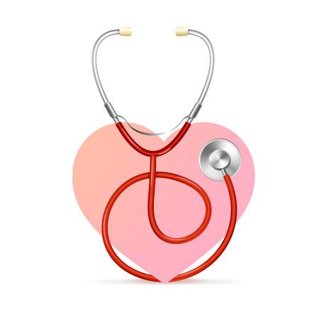 estetoscopio: Estetoscopio rojo con un corazón rosa. Un símbolo de la salud. Ilustración vectorial