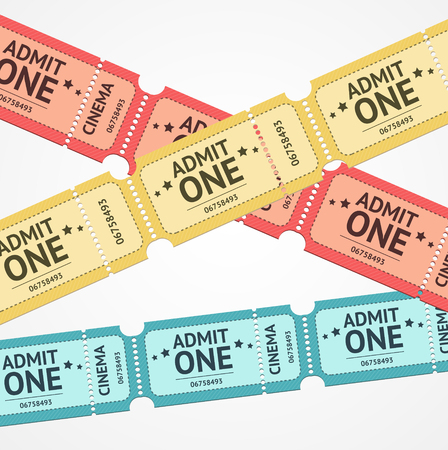 permission: Old Colorful Tickets For Events Background. Vector illustration Illustration