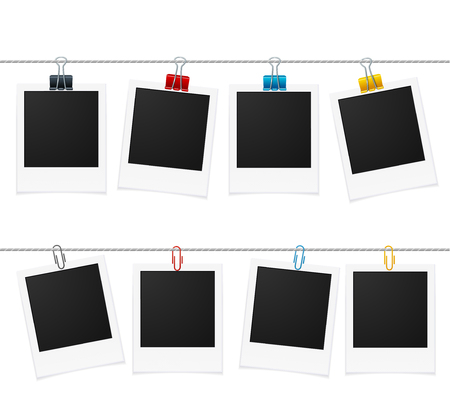 Photo Frames and Pin on Rope. Vector illustration