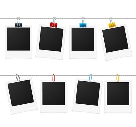 Fotolijsten en Pin on Rope. Vector illustratie