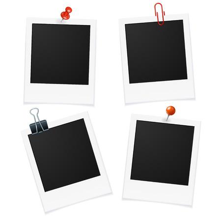 cuatro elementos: Marcos de la foto y el Pin de carteles, volantes. Ilustración vectorial