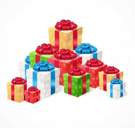 holiday symbol: Present Box Set. The Pile Of Presents Symbol Of The Holiday. Vector illustration Illustration