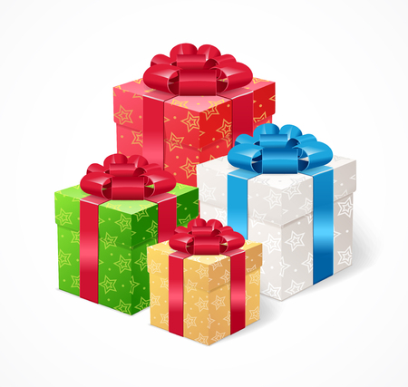 to present: Present Box Set. Symbol Of Celebration. Vector illustration