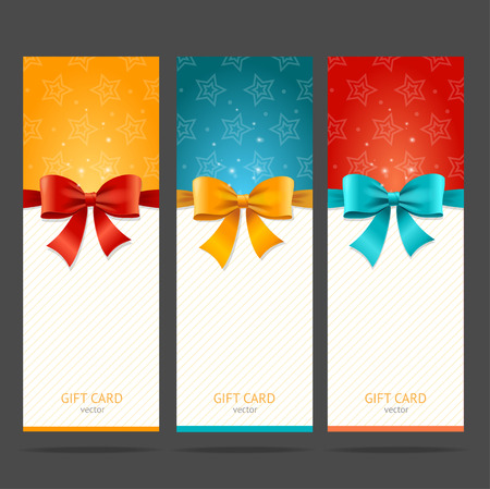 notice: Present Card with Bow Set. Vector illustration Illustration