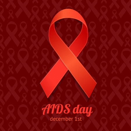 ribbon bow: AIDS Day Card On A Dark Red Background.