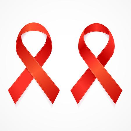 AIDS Ribbon Set Isolated on White Background.