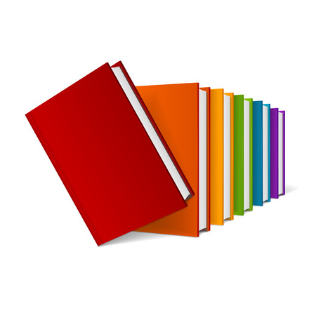 hardcover: Colorful Hardcover Book Stack. Illustration