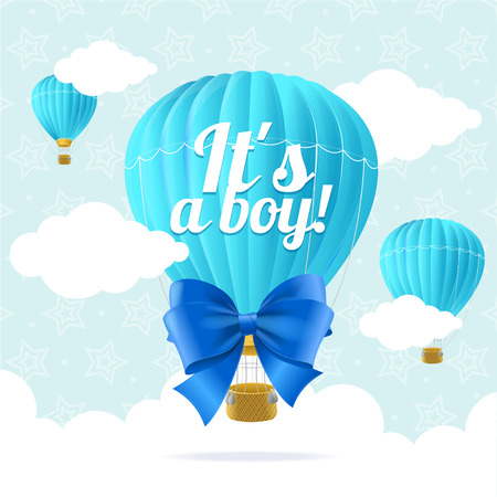 blue party: Boy Announcement Card.  Flat Design. Vector illustration Illustration