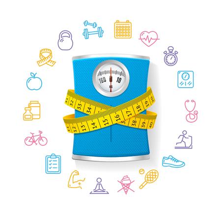 obesidad: Báscula de baño azul. Concepto de la aptitud. ilustración vectorial
