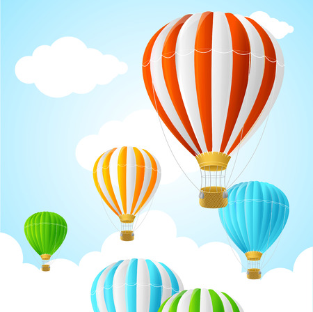 air baloon: Hot Air Background Card. Symbol Travel. Vector illustration