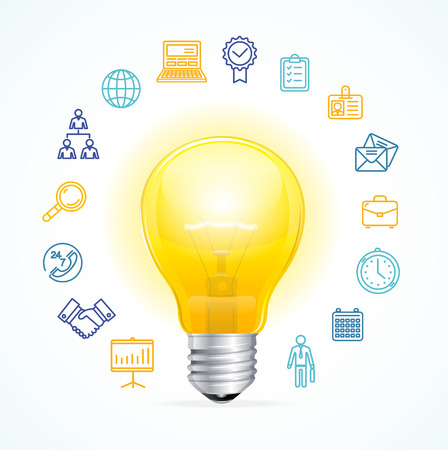 developing: Business Idea Concept. Symbol of Ideas and Innovation. Vector illustration