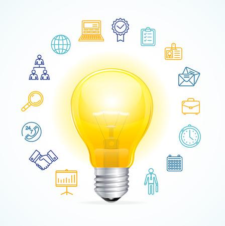 Idea de Negocio Concepto. Símbolo de ideas y la innovación. ilustración vectorial Ilustración de vector