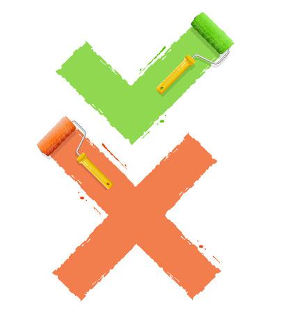 rollerbrush: Cross Check Symbol Yes  or No. Vector illustration Illustration