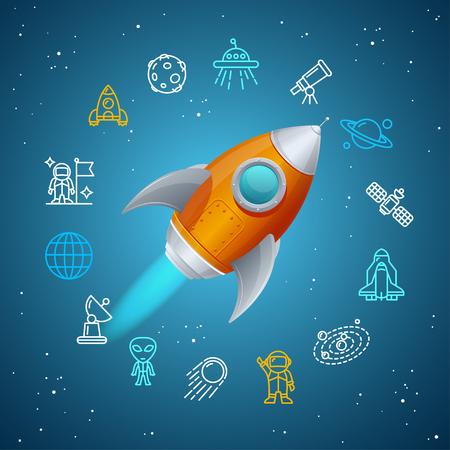 brandweer cartoon: Rovet and Space Icon Concept. vector illustratie
