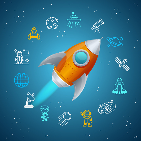 space cartoon: Rovet and Space Icon Concept. Vector illustration