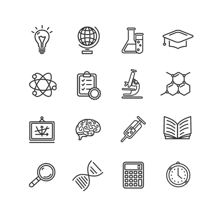 Science Outline Black Icons Set. Vector illustration