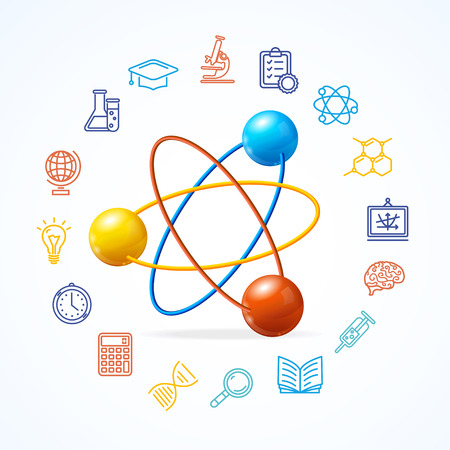 scientific: Science Concept and  Outline Colorful Icons Set. Vector illustration