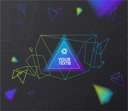 illuminate: Abstract Geometry Background Illuminate on Dark. Origami Bubble. Vector illustration