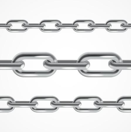 cadenas: Conjunto de metal Cadena realista. ilustración vectorial