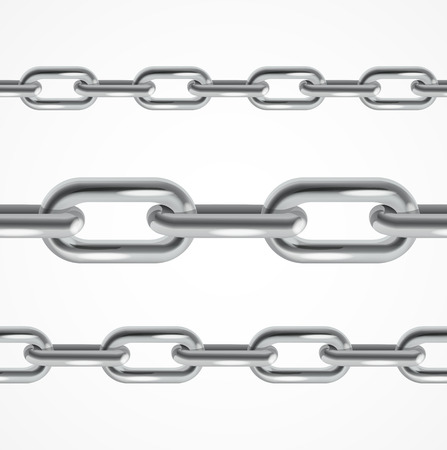 chain links: Set of Realistic Chain Metal. Vector illustration