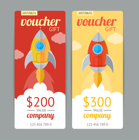 free border: Modern Gift Voucher with Rocket Fly. Vector illustration