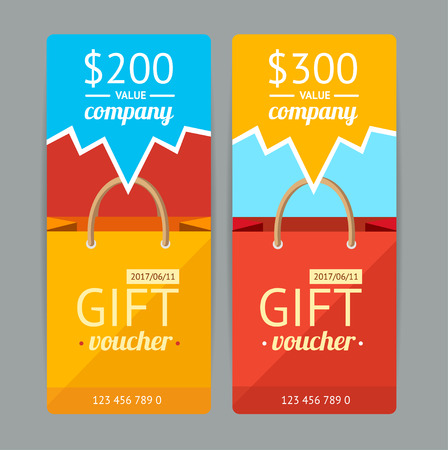 gift paper: Modern Gift Voucher with Paper Bag. Vector illustration Illustration