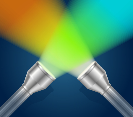 torch light: Two Pocket Torch Light. The Concept Of Search. Vector illustration