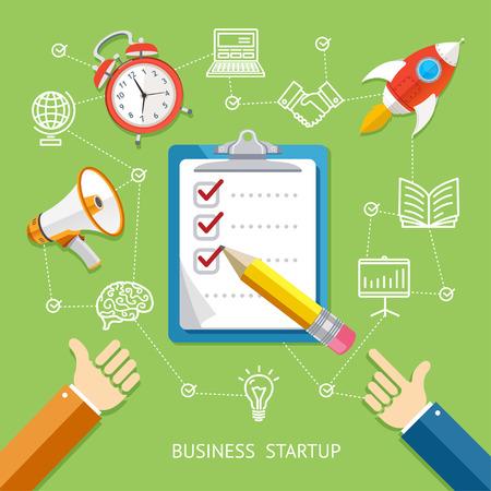 checklist: Business Startup Concept With Checklist. Flat Design. Vector illustration
