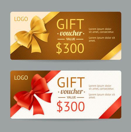 golden border: Gift Voucher Template and Gift Bow. Vector illustration