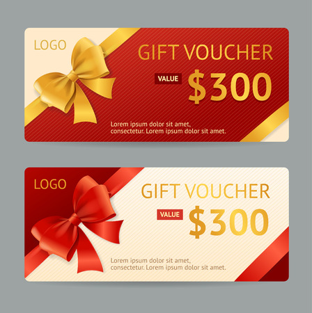 holiday invitation: Gift Voucher Template with Ribbon and a Bow. Vector illustration