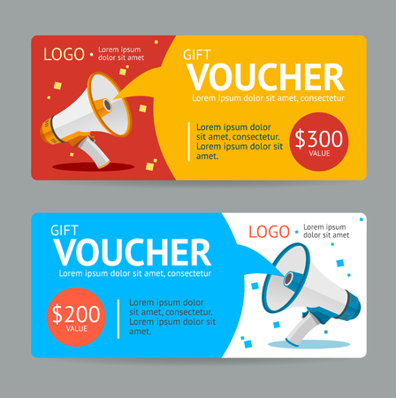 Gift Voucher. Flat Design. Announcement Of The Award. Vector illustration