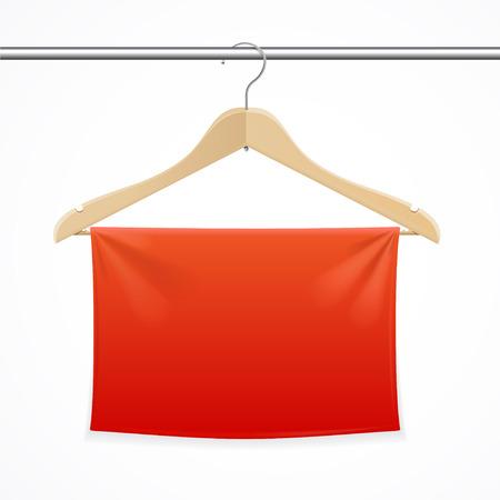 hangings: Hanger Red Fabric Banner Background. Vector illustration