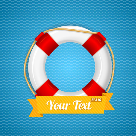 life bouy: Life Bouy Background With Ribbon For Your Text. Vector illustration Illustration