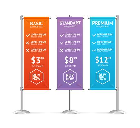 cheque en blanco: Lista de precios en forma de banderas bandera en blanco coloridas. ilustración vectorial Vectores