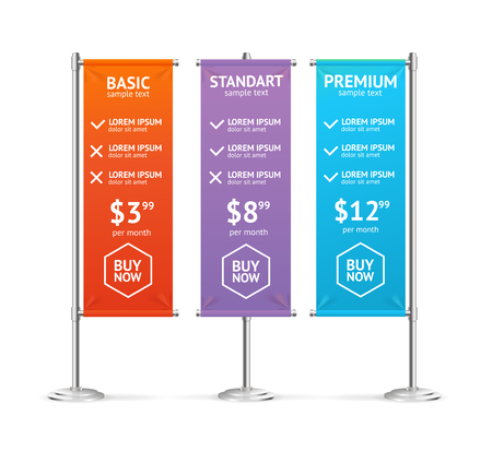 Pricing List in Form Blank Banner Flags Colorful. Vector illustration