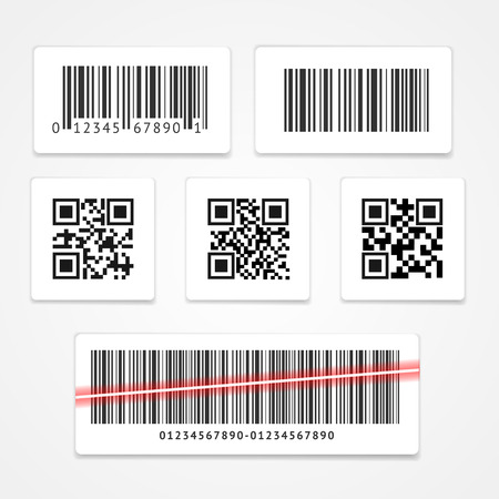 Barcode Tag or Sticker Set. Vector illustration
