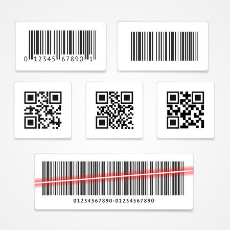 codigo de barras: Etiqueta de código de barras o una etiqueta engomada Set. ilustración vectorial