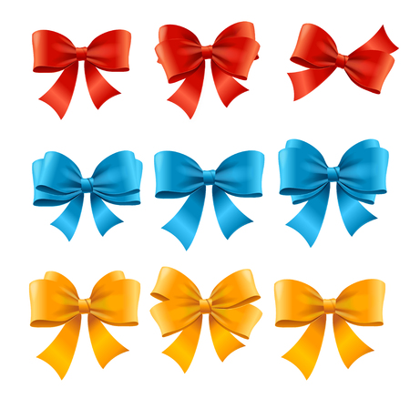 satin: Satin Colorful Bow Set for Gifts and Decoration. Vector illustration