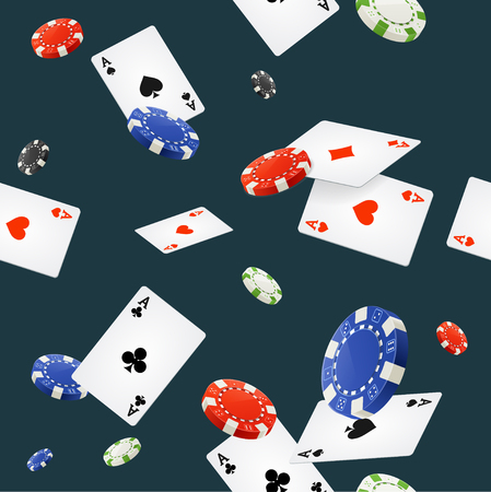 ace of spades: Casino Background Seamless on Dark Blue. Vector illustration