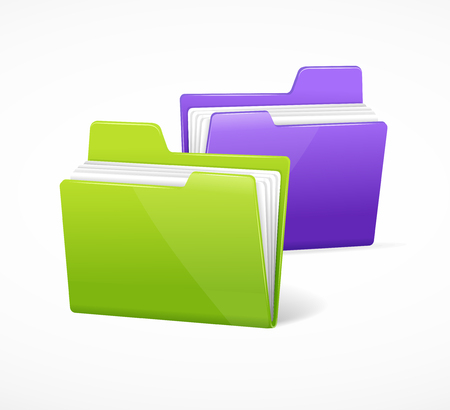folders: File Folder Colorful Set Purple and Green. Vector illustration