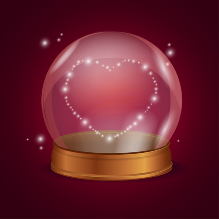 fortune: Empty Crystal Ball Valentine Heart. Prediction Of Love. Vector illustration